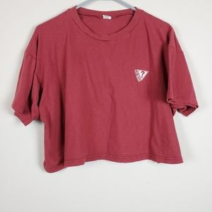 Guess Red Question Logo Crop Top
